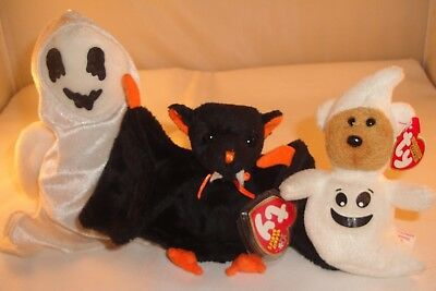 Ty Beanie Babies Halloween Lot of 3 Sheetsies Sheets Ghosts Bat-e w/ Tags