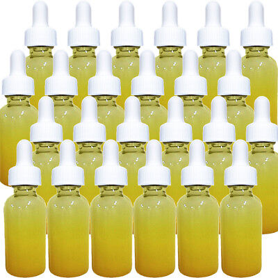 1 oz Yellow Shaded Glass Boston Round Bottles 24 New Bottles With White Droppers