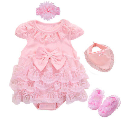 Newborn baby girls summer bodysuit+headband+shoes+ bib party dress baby gift