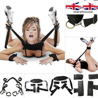 Fantasy Adults Cosplay Fetish Bed Restraint Bondage Collar Hands Ankle Cuffs UK
