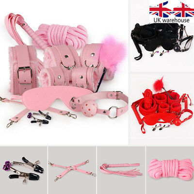 UK 10Pcs  Adult Bondage Restraints Kit  Adult Handcuffs Fetish Toys Cosplay Whip