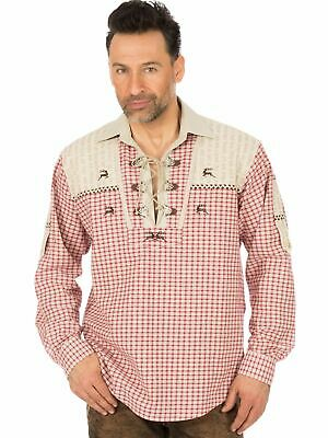 Os-Trachten Traditional Shirt Checked Roll-Up Sleeves 320004-1827 Red