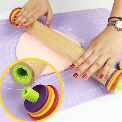 Height Adjustable Rolling Pin Wooden Pizza Dough Thickness Measurement Guide