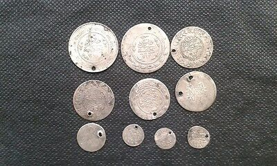 LOT of 10 Mix_ OTTOMAN .ISLAMIC SILVER Akche-Para COINS+ 18th century