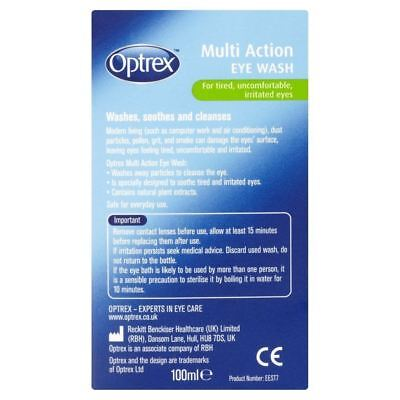 Optrex Multi Action Eye Wash Solution Bath For Soothe Tired Irritated Eyes 100ml