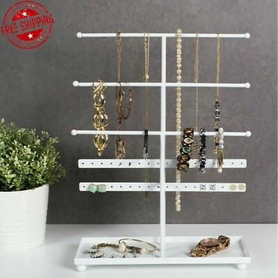 Jewelry Metal Stand Organizer Earring Bracelet Necklace Holder Display White New