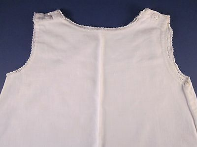 Vintage baby cotton Slip white dainty lace button shoulder closer 6 to 9 mo. ?