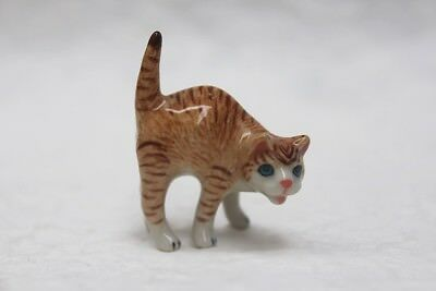 Figurine Animal Brown Cat Stretching Miniature Ceramic Statue Collectible Gift