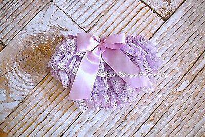 Lavender lace diaper cover ruffle bloomers 1st birthday infant girl 0-18 mo. RTS