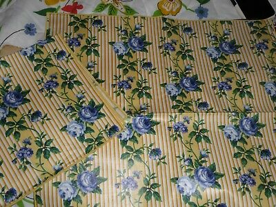 2 Longaberger Woven Traditions Yellow Rose Trellis Cloth Napkins Excellent