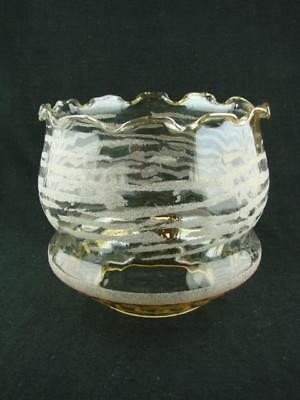 Vintage Duplex Oil Lamp Shade, Amber Glass Internal Ribbing & Applied Decoration