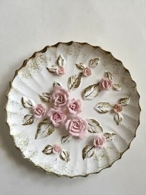 Vintage Lefton Pink Rose Wall Plaque Plate Shabby Cottage Chic Romantic Japan