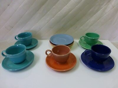 FIESTAWARE 5 Cups and 9 Saucers Vintage Blue Green Coral Inner Rings