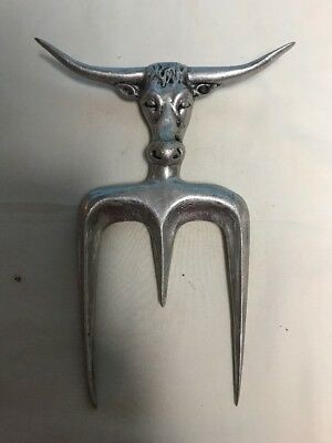 Vintage Aluminum Steer Head Texas Longhorn Meat Carving Fork