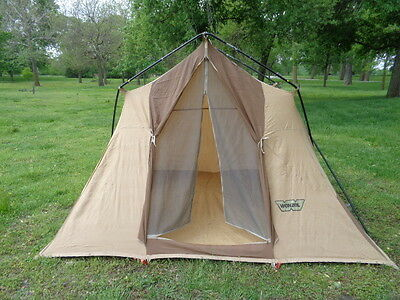 WENZEL CANVAS TENT 8u0027x10u0027 & VINTAGE CANVAS Wall Camping Cabin Tent Steel Poles Awning ...
