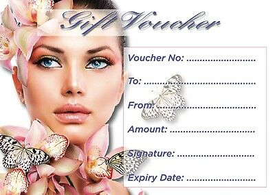 Beauty Salon gift voucher blank x15 + envelopes Value price £5.99