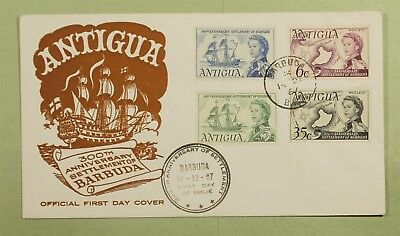 DR WHO 1967 FDC ANTIGUA 300TH ANNIV BARBUDA SETTLEMENT  d02554