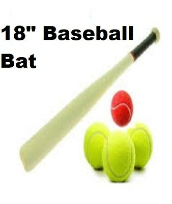"18""Baseball Bat Heavy Duty Wooden Baseball Solid Construction Rounders Fun Play"