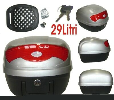 Universal Motorcycle Motorbike Scooter Rear Luggage Topcase Topbox 29 lt Silver