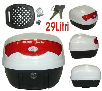 Universal Motorcycle Motorbike Scooter Rear Luggage Top case box 29 lt White
