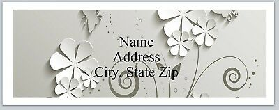 Personalized Address Labels 3d White Flowers Buy 3 get 1 free (P 598)