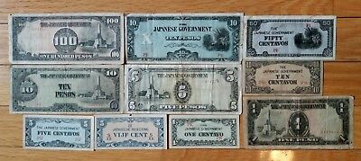 10 pieces Japanese Occupation currency