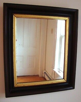 Classic Antique Mirror with Faux Wood Plaster Frame, All Original