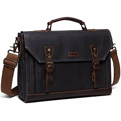 Messenger Bags 17 Inch Laptop Bag Vintage Waxed Canvas Leather Water Resistant