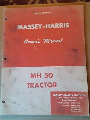 Vint. Massey Harris MH 50 Tractor Owners Manual see pic