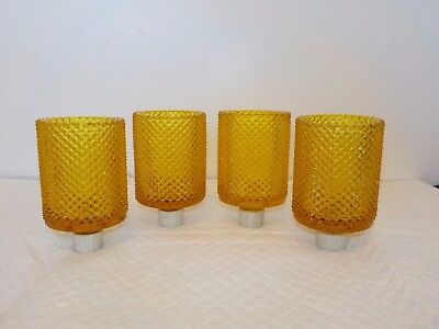 Set of 4 Home Interior Amber Diamond Cut Votive Cups
