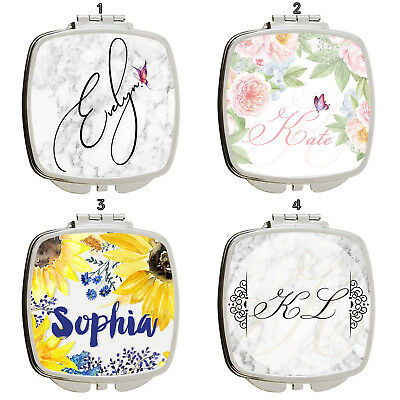 Personalised Name Marble Effect Handbag Travel Make Up Cosmetic Compact Mirror