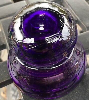 Antique Glass Insulator Cd191 Royal Purple Top Canada NICE