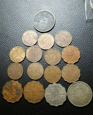 iraq king Ghazi 1936 1937 and 1938 lot of 16 coins
