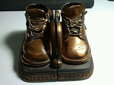 Vintage Brass Copper Bronze BABY SHOE Bookends