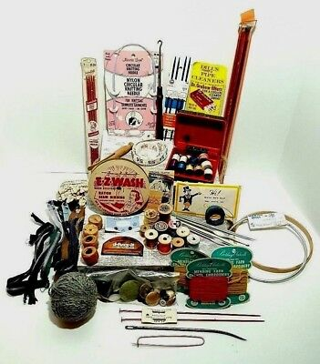 BIG Vintage LOT of Sewing - Craft Notions - Junk Drawer - Sewing Box - Buttons