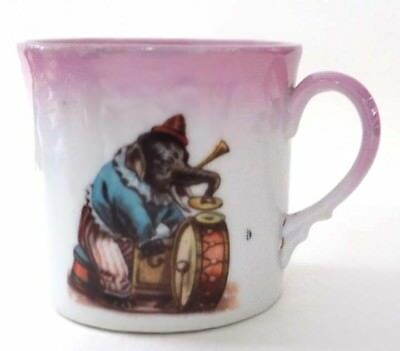 Vintage Child's Porcelain Cup  Elephant Dressed as Clown Playing Drums