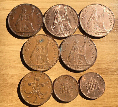 VERY CHEAP Brittish Pennies (Large & Small with Various Dates)  AU - Very Fine