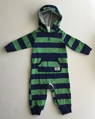 Carter 12 month baby boy long sleeve, hooded body suit, navy blue & green stripe