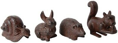 CAST IRON Animals SET OF FOUR (4) Squirrel Rabbit Snail Hedgehog (sold as SET)