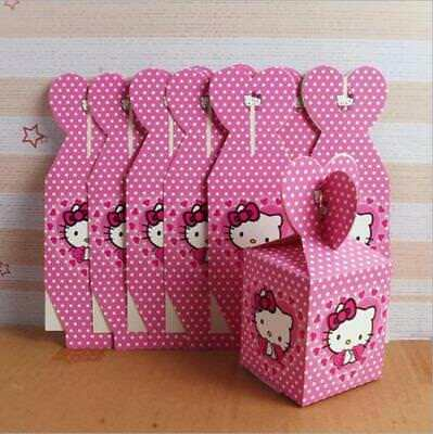 6pcs Kitty Candy Box Kids Birthday Party Supplies Favors Gifts Bag Cartoon