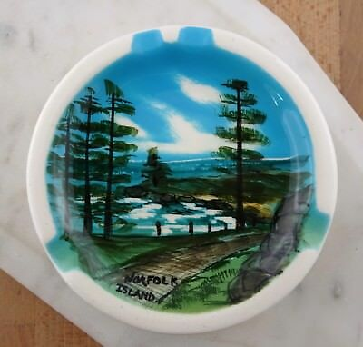 Studio Anna 1960s Vintage Hand Painted Ashtray, Norfolk Island Souvenir