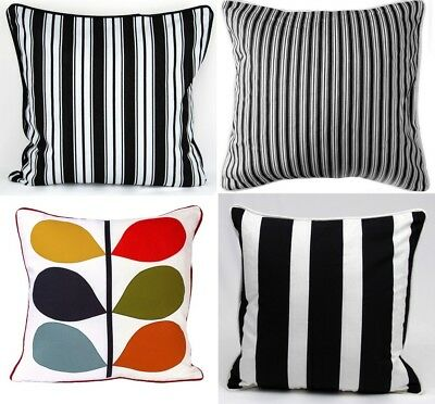 "100% Cotton Luxury Cushion Covers Stripes Designer Inspired Quality 18"" x 18"""