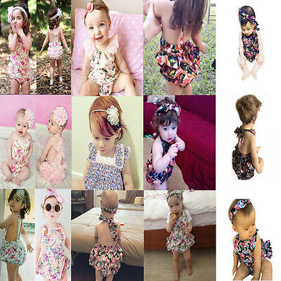 Newborn Baby Girls Floral Rompers Jumpsuit Summer Sunsuit Backless Clothes Lot