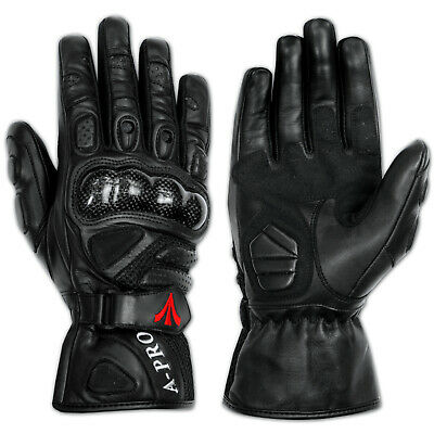 Sport Max Carbon Protectors Motorcycle Biker Leather Sport Gloves Sonicmoto