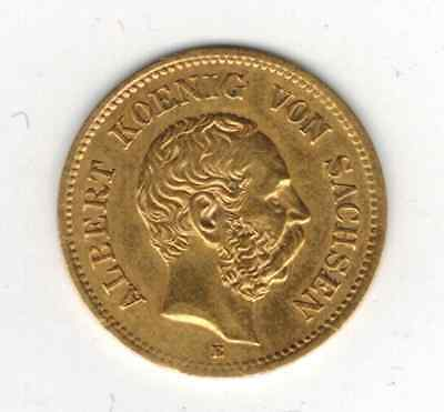 5 Mark Sachsen Gold Albert 1877 J. 260 Gold