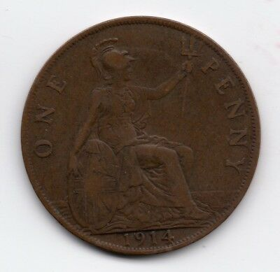 1914 Great Britain UK Large One Penny