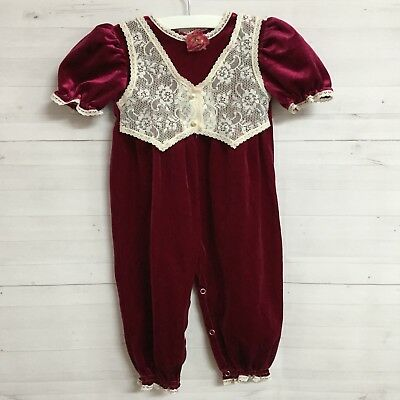 Vintage Girls 2T Velvet Romper One Piece Toddler Baby Maroon Lace USA Made