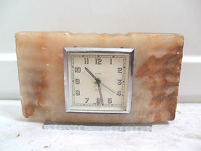 """Smiths 7 Jewels Winding Movement Ribbed Marble Case Mantle Clock 4.5""""H 7.5""""W"""