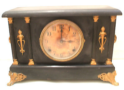 Sessions USA Ebonised Case Striking Mantle Clock With Raised Gilded Decoration
