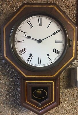"Ansonia American Drop Dial Inlaid Walnut Striking Movement Wall Clock GOW 21""L"
